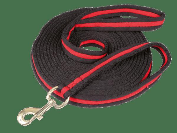 Longeerlijn soft zwart/rood 8 meter