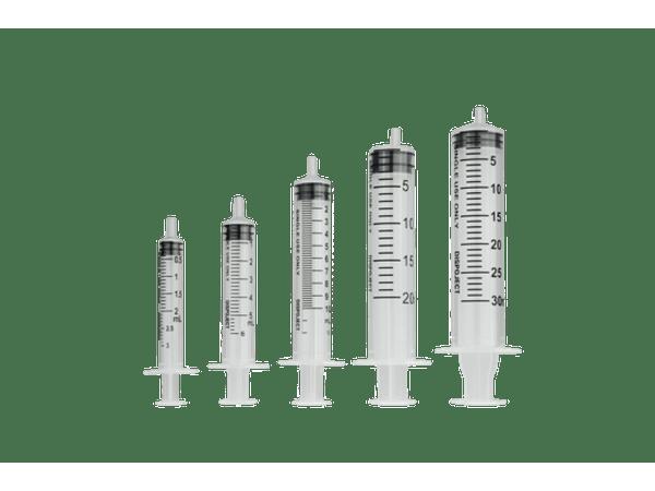 Wegwerpspuit 3-delig Luer hub 2ml